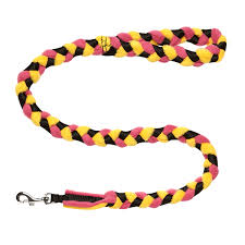 Hallon- Tug-E-Nuff Braided Fleece Tuggy Lead Yellow/Red/Black